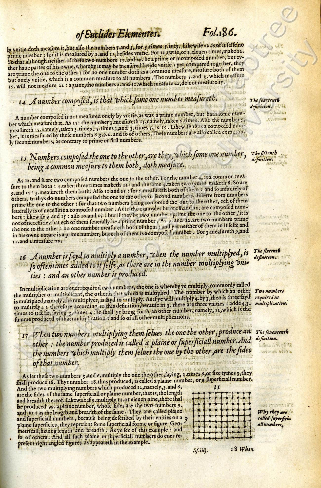 Henry Billingsley's 1570 definition of multiplication (#16) from his translation into English of Euclid's Elements.